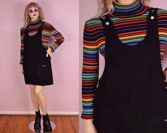 90s Black Denim Jumper Dress/ Large/ 1990s