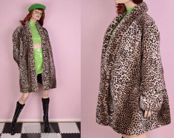 80s Leopard Print Faux Fur Swing Coat/ XL/ 1980s/ Jacket