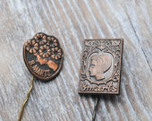 "Vintage Latvian badges,pins. ''March 8-International Women's Day""'. Set of 2."