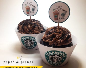 Printable Starbucks Cupcake Wrappers and Toppers