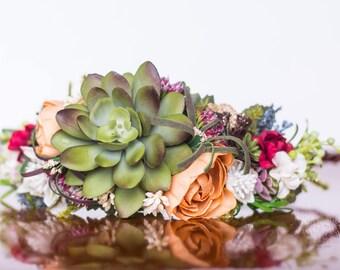 Succulent Flower Crown - Bridal Flower Halo - Summer Wedding - Photo Prop - Wedding Crown - Floral Hairpiece - Bride