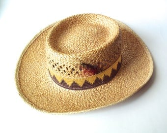 Vintage Billie Ross of the Palm Beaches, Lake Worth, Florida, U.S.A., Straw Hat, Size Large