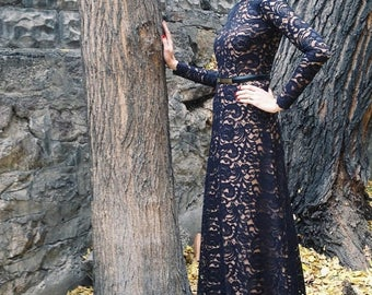 SALE Maxi black lace dress with thick lining