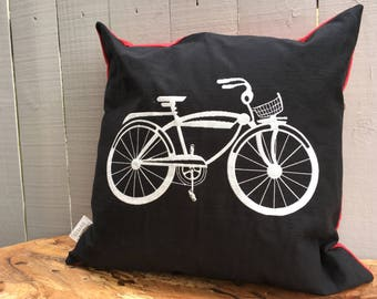 "Bicycle Pillow, Decorative Pillow, Holiday Decor, Cabin Decor 20"" x 20"", Black and Red Bike Pillow Cover, Ready to Ship"