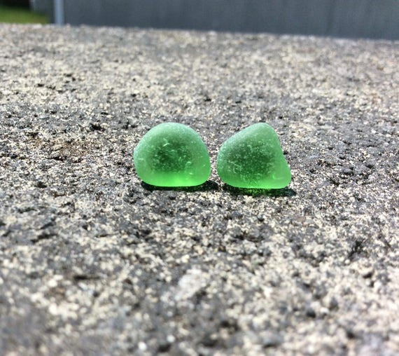 Surf Tumbled Green Seaglass Stud Earrings