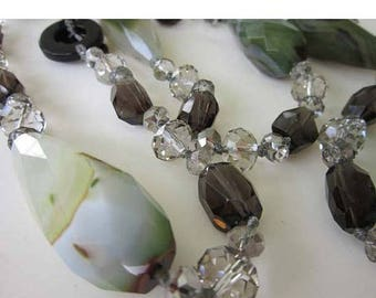 50% OFF LONG Green Agate Smoky / Clear Crystal Quartz Beaded Necklace