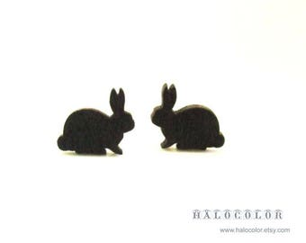 Dyeing Series - 10 pcs  Variety of Colors Rabbit Wood Charm / Earring Supplies / Wood Cabochons WES11