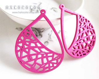 40x51mm Pretty Hot Pink Water shape Geometry Wooden Charm/Pendant MH259 06
