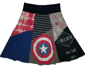 Captain America Upcycled Skirt Women's Medium Large Size 8 10 12 t shirt skirt recycled t-shirt clothing twinkle skirts twinklewear