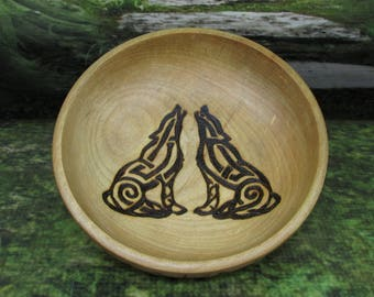 Asatru Blot Bowl: Odins Wolves, Blot Blessing Bowl, Norse Bowli, Asatru Ritual Bowl, Asatru Blessing Bowl, Viking Blessing Bowl,Viking Bowli