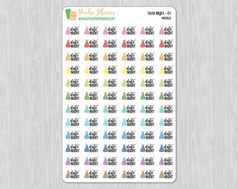 Date Night, Rainbow Pastels - 72 Functional Planner Stickers    01