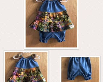 Infant Batik Peasant Style  Dress and Bloomers, size 6 months