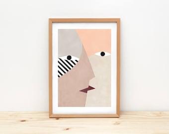 Kiss I - illustration by depeapa, print, poster, A4 wall art, wall decor