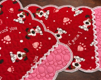 NEW Embroidered Mug RUg mouse pad Valentine's Day dogs fabric