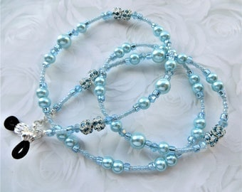 SKY BLUE PEARL- Handcrafted Beaded Eyeglass Lanyard- Pearl Beads and Sparkling Crystals