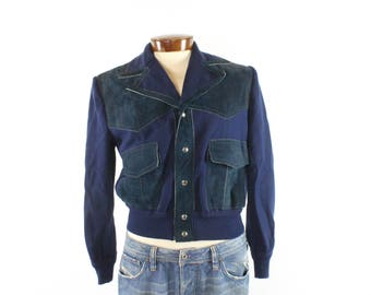 Vintage 70s Suede Sweater Jacket Navy Blue Button Up Cardigan 1970s Hippie Hipster Mens Medium M