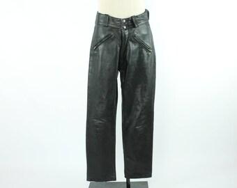 1960s Leather Motorcycle Pants Brooks Black Biker Trousers Vintage 1960s Mens 33 Waist