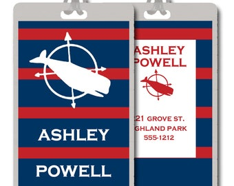 Personalized/Customized Red and Navy Bag/Luggage Tags -- Set of 2