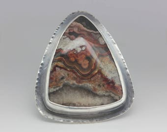 Crazy Lace Agate Ring, Agate & Sterling Ring, Statement Ring, Boho Ring, Le Chien Noir, Unisex, Size 7.5