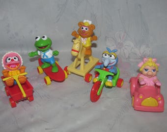 Lot of 5 Vintage McDonald's Muppet Babies with Vehicles - Miss Piggy, Fozzie Bear, Kermit the Frog, Gonzo, and Animal - Muppets Figures