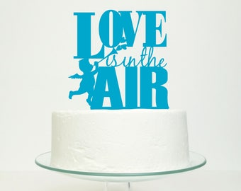 S A L E 'Love Is In The Air' Wedding Cake Topper in Turquoise