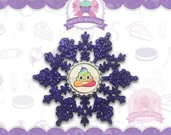 Rainbow Poop Emoji Glitter Snowflake - Christmas Ornament