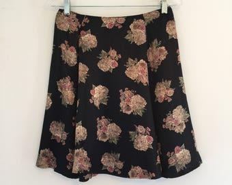 Vintage 90's Black Satin Floral Mini Grunge Skirt M