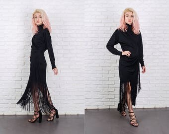 Vintage 70s 80s Black Fringe Dress Flapper Maxi Draped Slouchy Wrap Small S 9843