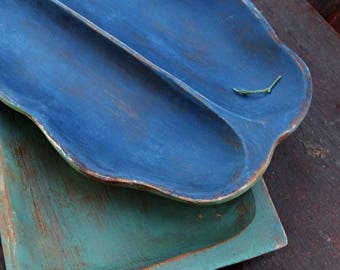 Wood Jewelry Dishes Blue Green, Bright Color Plate, Shabby Trinket Dish Ring Bowl Jewelry Holder, Rustic Table Organizer Jungalow Decor Boho