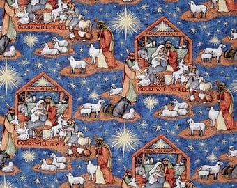 Nativity Scene from Springs Creative Fabrics - Birth of Jesus Christ / Christmas Fabric