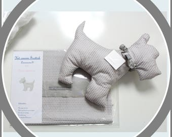 Sewing kit just'A sewn cushion dog scottie -Patron pre-drawn and padding