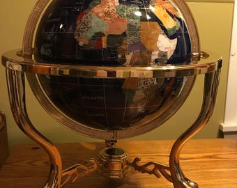 Large Vintage Blue Lapis Globe with Semi Precious Stone Inlay