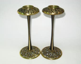Pair Abada Signed Made in Israel Brass Shabbat Candlesticks Vintage Judaica