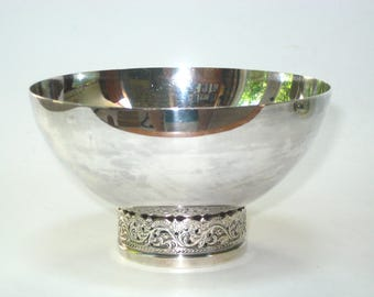 E.L. Crown Mark Denmark Silver Plated Bowl with Chased Scroll Foot