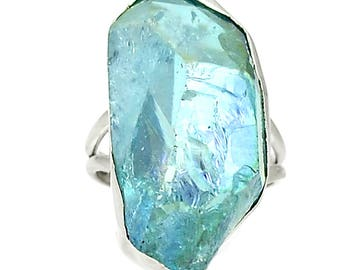 Aqua Aura Quartz 925 Sterling Silver Ring  sz.6