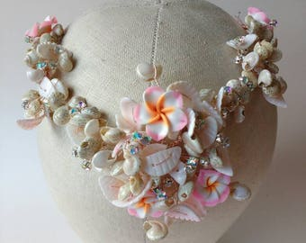 Rose gold hairvine headdress with frangipani flowers diamante crystals sea shells - Boho beach wedding - Bridal tiara Mermaid crown