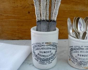 Antique Jar Dundee Marmalade Jar, James Keiller & Sons, Jelly Jar, Maling London, English Stoneware, Vintage White Marmalade Pot