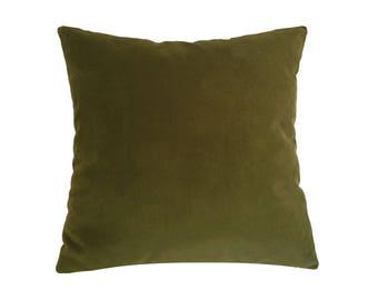 "Deep Wasabi Green Velvet Suede Decorative Throw Pillow Cover / Pillow Case / Cushion Cover / 20x20"""