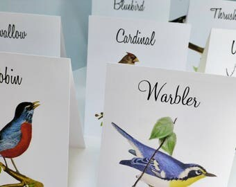 Wedding Table Tent Cards, Vintage Table Card, Vintage Bird Illustrations, Bird Theme, Table Tents, Table Numbers