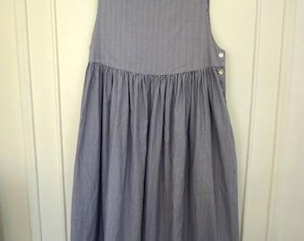 1980's Laura Ashley Shirting Strip Pinafore Maxi Dress
