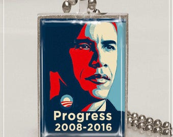Obama Necklace Obama Progress Obama Pendant