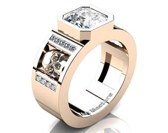 Mens Modern 14K Rose Gold 3.0 Ct Royal Emerald Cut White Sapphire Princess Diamond Skull Wedding Ring R41N-14KRGDWS