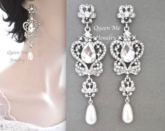 Pearl earrings,Swarovski earrings,Crystal chandelier earrings,Vintage style wedding earrings,Brides earrings,Pearl chandelier earrings,SARAH