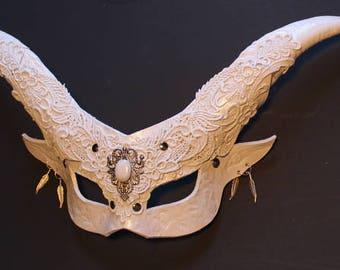 Mens White Satyr mask