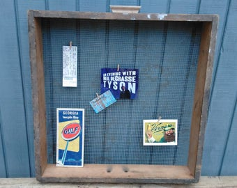 Old Wooden Memo Board - Message Board - Wooden Drawer - Wooden Sifter