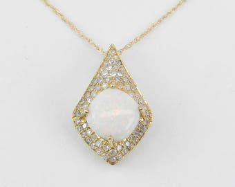 """Diamond and Cushion Cut Opal Halo Pendant Necklace 14K Yellow Gold 16"""" Chain October Birthstone"""
