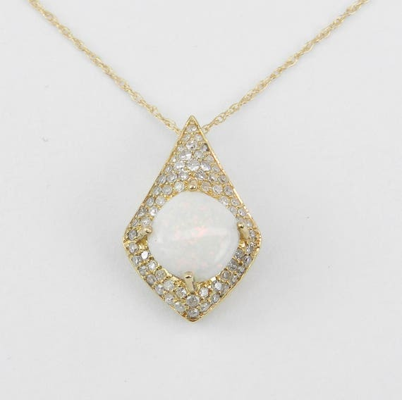 "Diamond and Cushion Cut Opal Halo Pendant Necklace 14K Yellow Gold 16"" Chain October Birthstone"