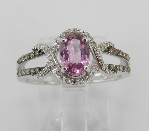 14K White Gold Fancy Diamond and Pink Sapphire Halo Engagement Ring Size 7