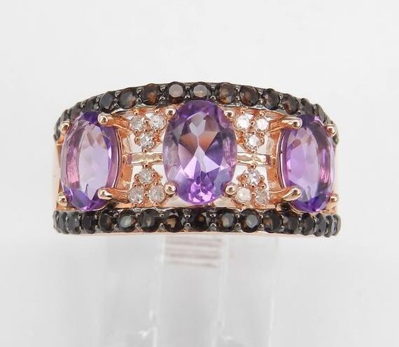 Three Stone Amethyst and Diamond Anniversary Ring Band 14 Rose Gold Size 7 February Gemstone