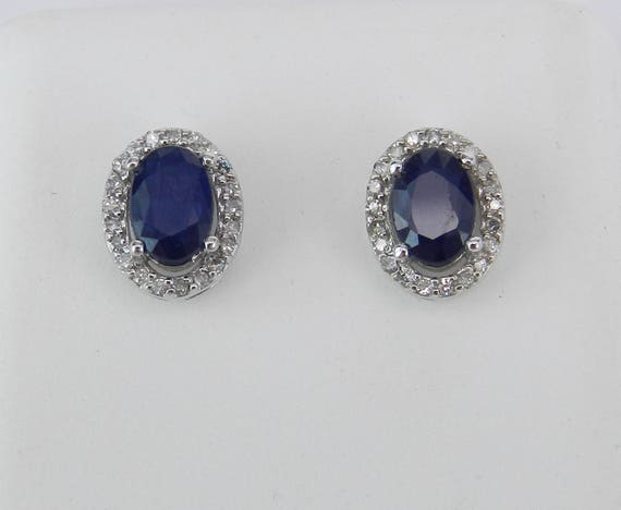 Oval Sapphire and Diamond Stud Earrings Halo Studs Birthstone Earring White Gold